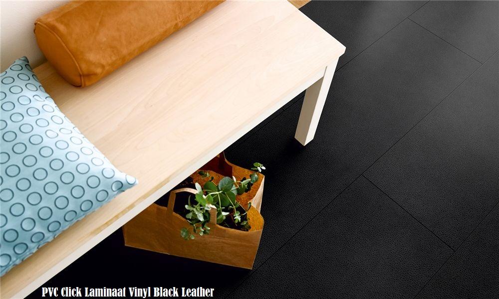 Pvc vinyl click tegel laminaat zwart lederen v mm