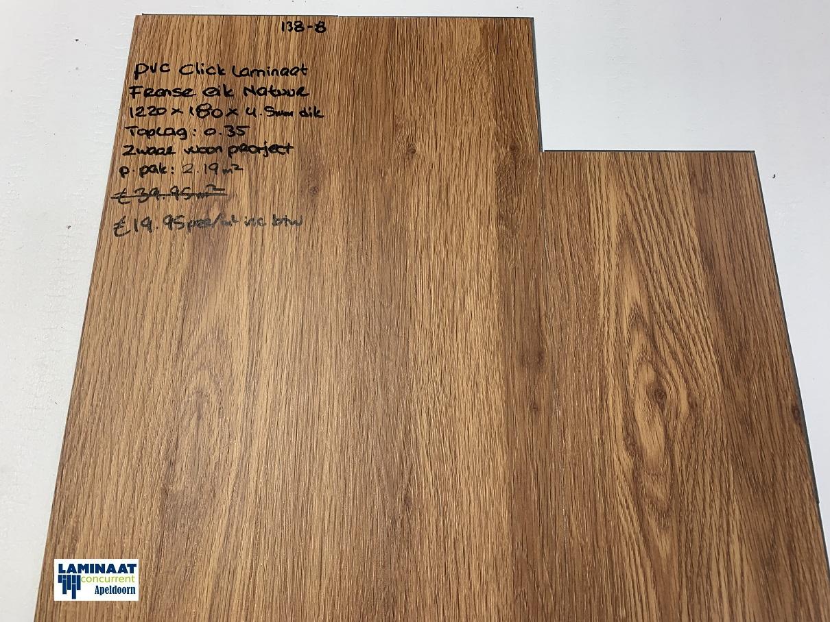 Pvc click vinyl laminaat 138 8 franse natuur eik 4 5mm dik