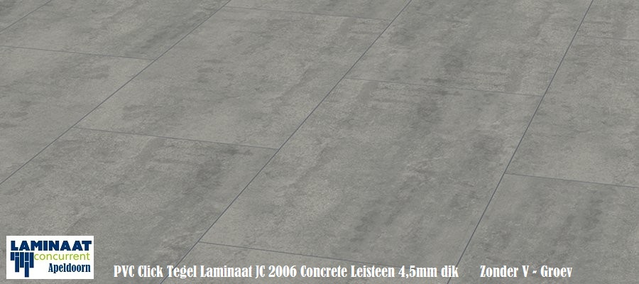 Pvc click vinyl tegel laminaat jc2006 concrete leisteen grijs 4 5mm dik for Tegel pvc imitatie tegel cement