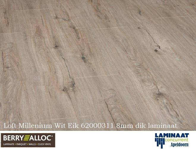 Wit Eiken Laminaat : Berry alloc loft millennium wit eik 62000311 8mm dik
