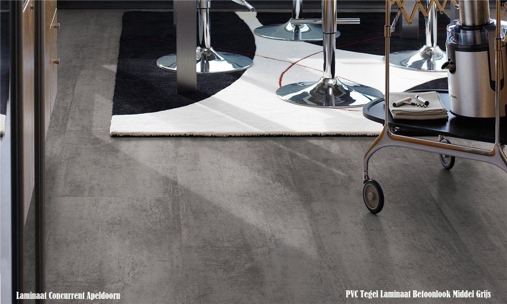 Pvc click tegel laminaat concrete middel grijs andora laminaat