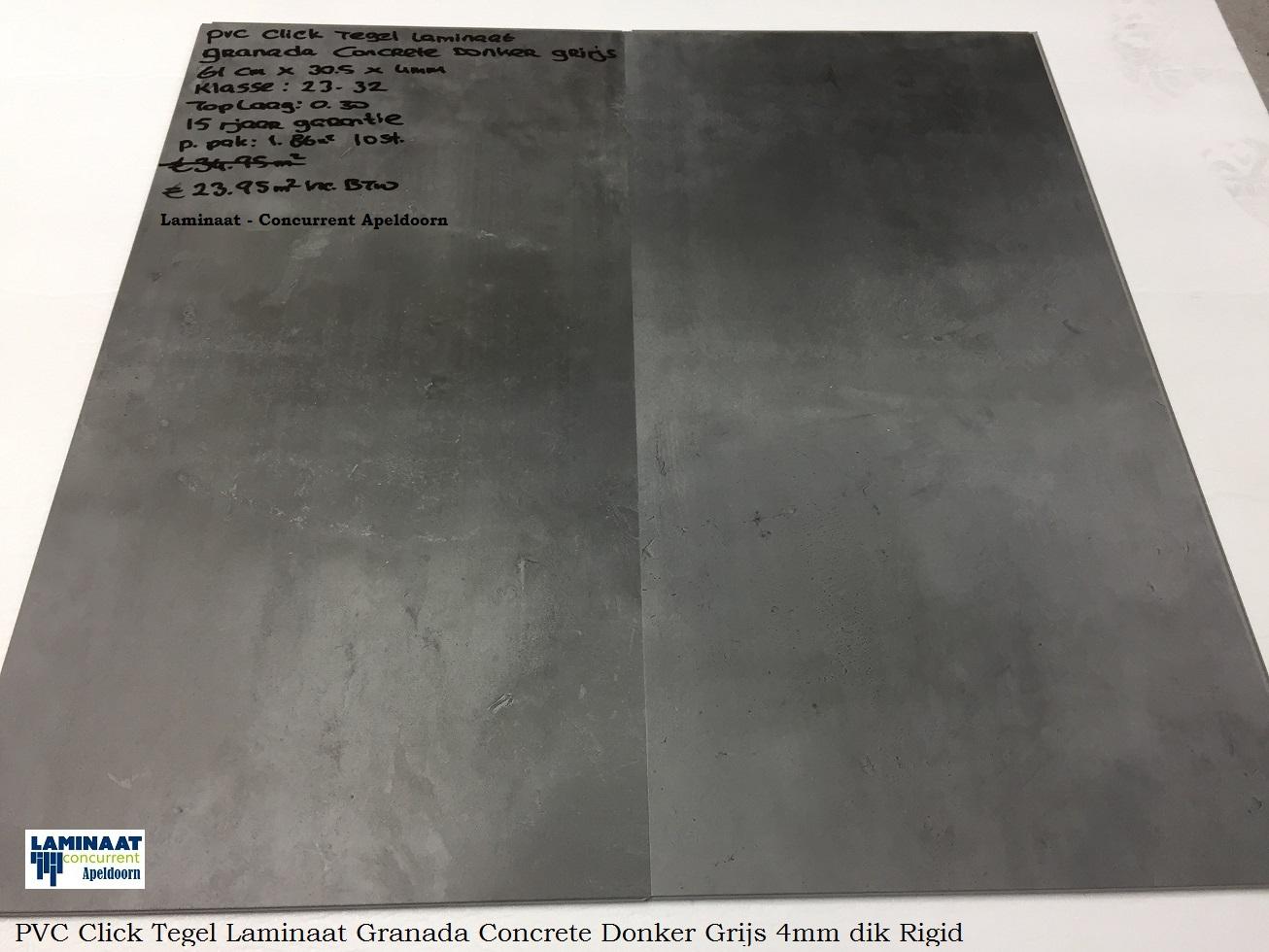 Pvc click tegel laminaat concrete donker grijs granada laminaat