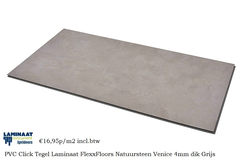 Pvc tegel laminaat click natuursteen venice grijs 4mm laminaat