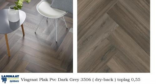 Visgraat plak pvc laminaat dark grey 3506 laminaat concurrent