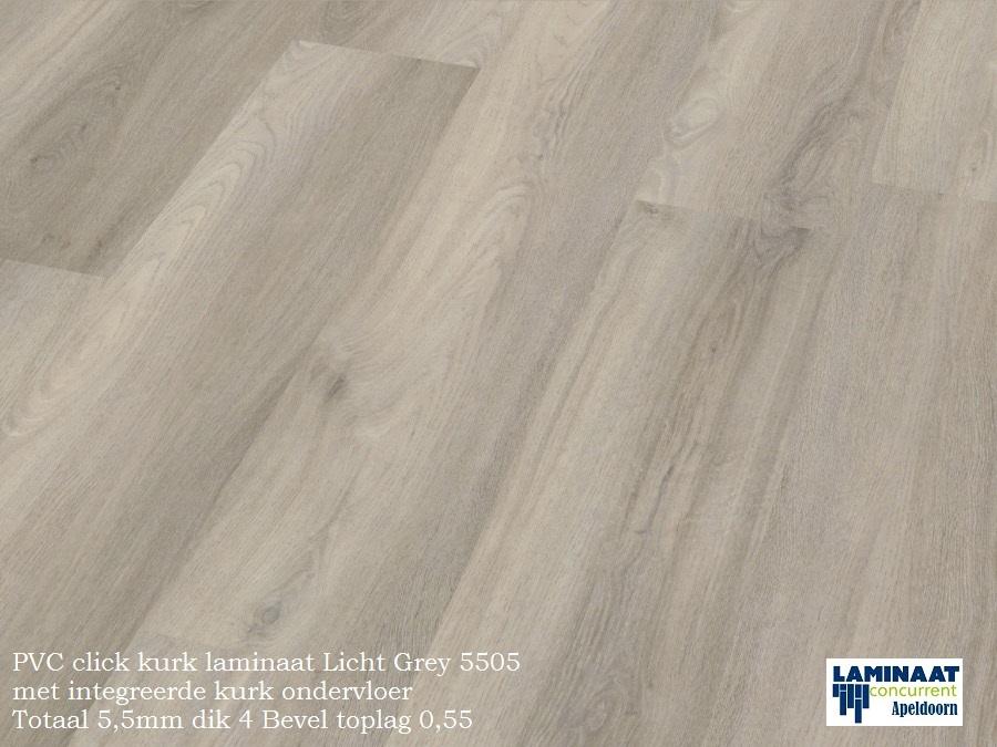 Pvc click met kurk ondervloer licht grey oak laminaat