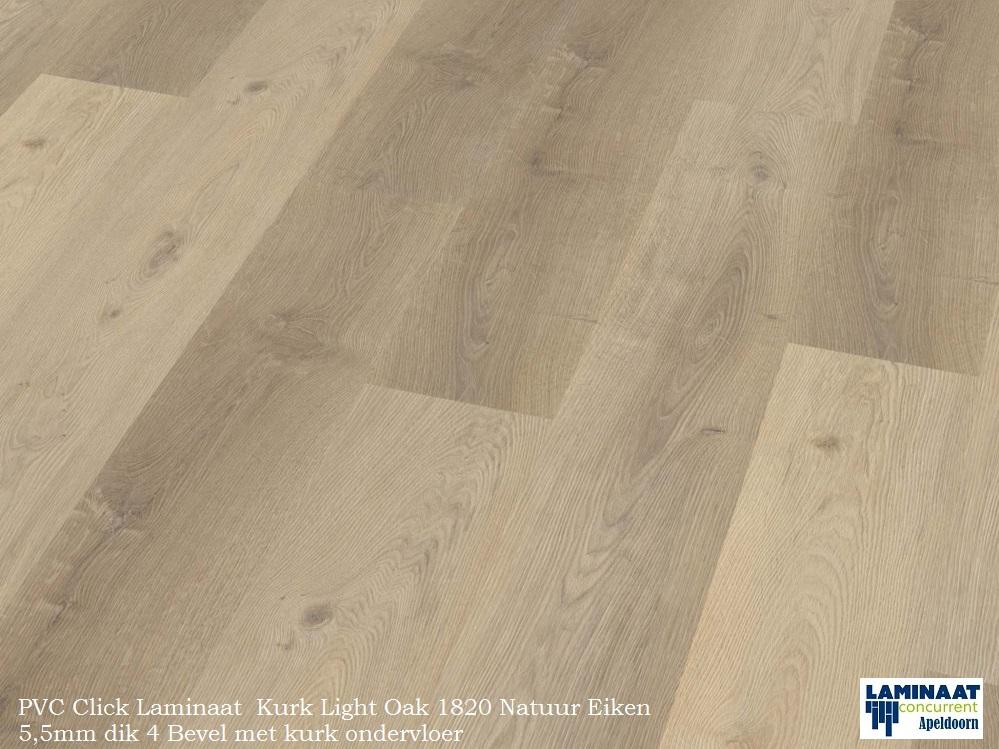 Pvc click met kurk ondervloer light oak 1820 laminaat concurrent